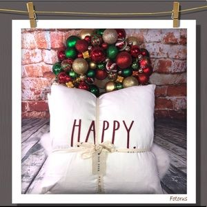 Rae Dunn Happy Holidays Pillow Set